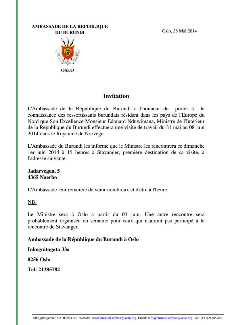 Invitation pour une rencontre avec le ministre de l - Cabinet du ministre de l interieur ...