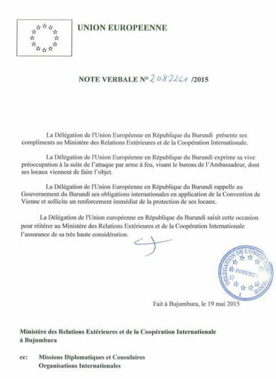Attaque Bureau EU Burundi