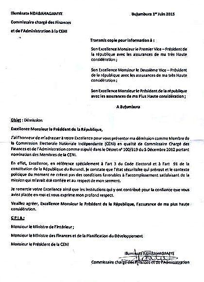 reponse a une lettre de demission Lettre de démission des deux membres de la CENI | Bujumbura News reponse a une lettre de demission