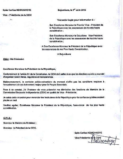 lettre de d mission des deux membres de la ceni bujumbura news. Black Bedroom Furniture Sets. Home Design Ideas