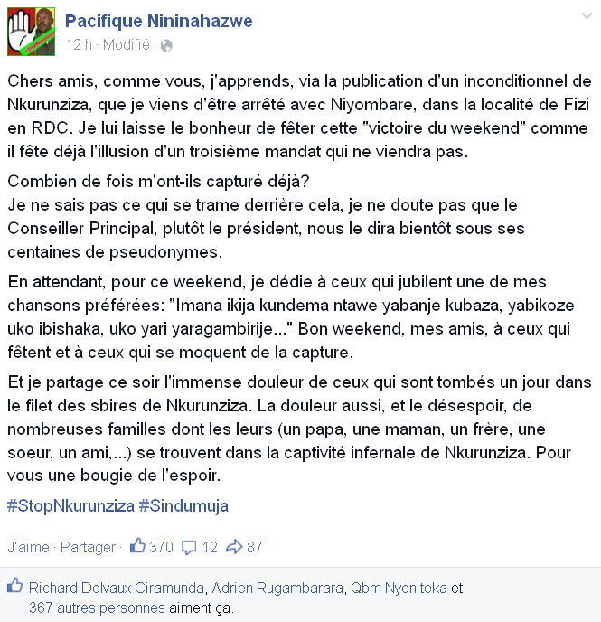 INTOX Notre ami NININAHAZWE Pacifique n'a pas été arrêté en RDC