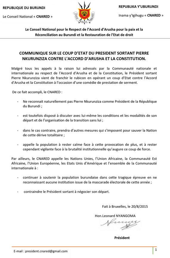 CNARED communiqué 20082015
